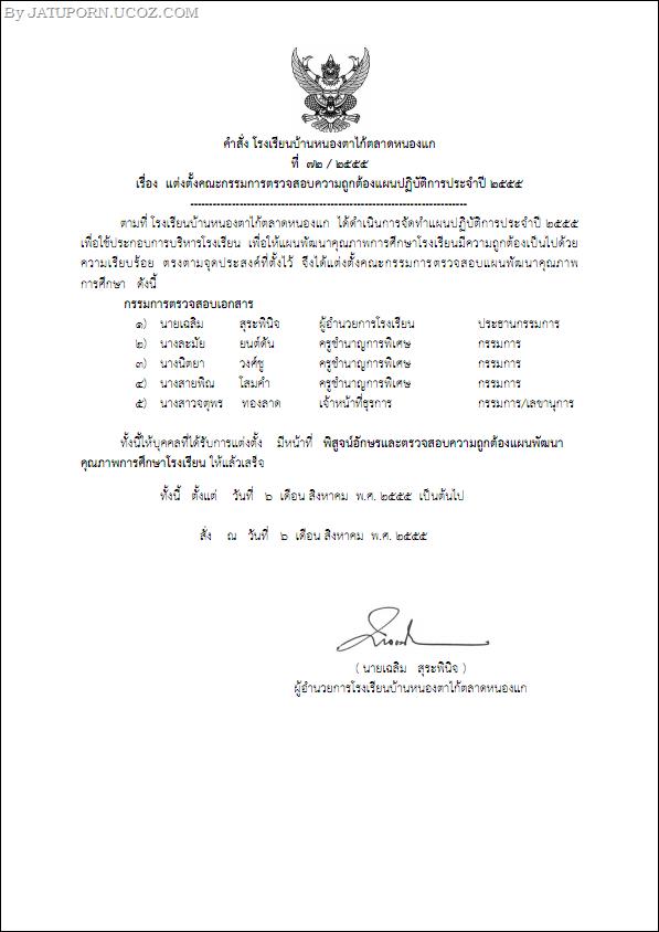 12 คำสั่ง 72 แต่งตั้งคณะกรรมการตรวจสอบความถูกต้องแผนปฏิบัติการประจำปี 2555_001