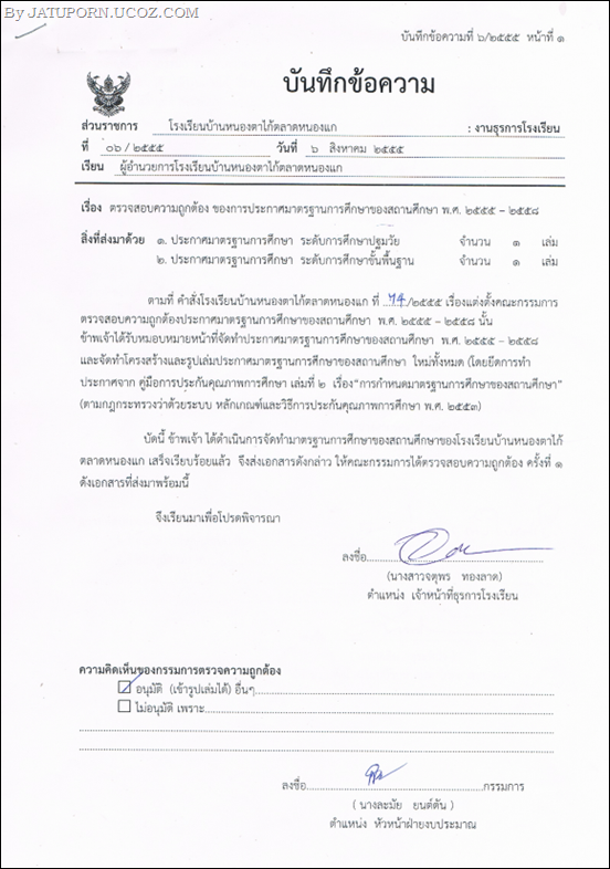 บันทึกข้อความ 6 ตรวจสอบความถูกต้อง ของการประกาศมาตรฐานสถานศึกษา_001